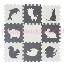 Foam puzzel mat Grijs / Witte Dieren (Niet op voorraad, Levering 20 Mei)