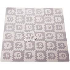 Foam puzzel mat ABC trein + cijfers in grijs / beige 122 delig