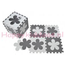 Foam puzzel mat Grijs / Witte bloem