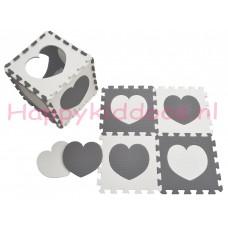 Foam puzzel mat Grijs / Wit hart