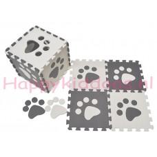 Foam puzzel mat Grijs / Witte pootafdruk