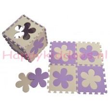 Foam puzzel mat Paars / Beige bloem