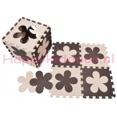Foam puzzel mat Bruin / Beige bloem