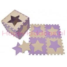 Foam puzzel mat Paars / Beige ster