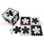 Foam puzzel mat Zwart / Witte bloem