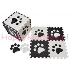 Foam puzzel mat Zwart / Witte pootafdruk