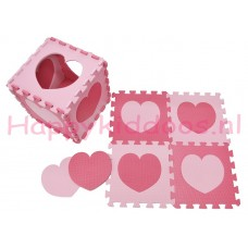 Foam puzzel mat Roze / licht Roze hart